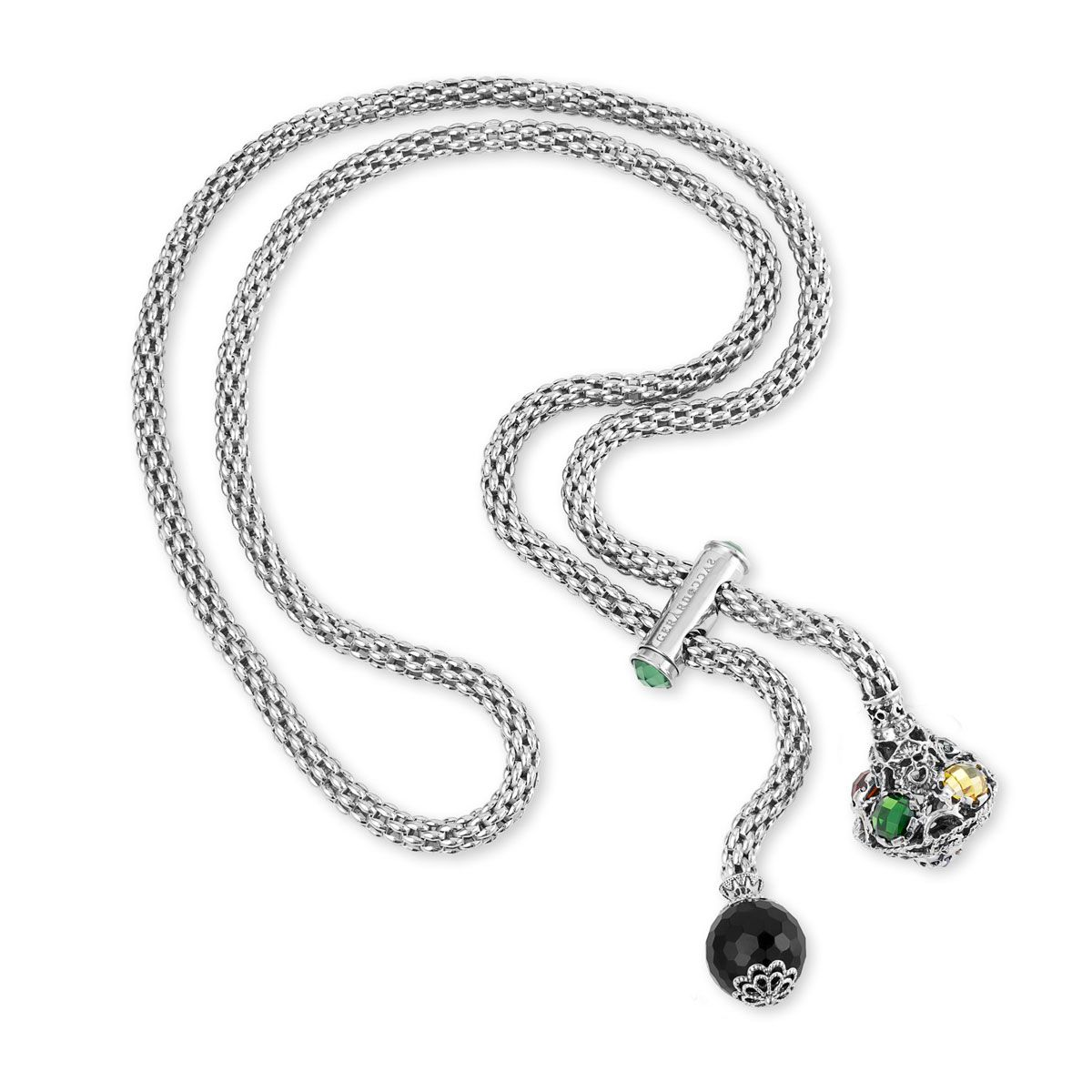 Up&down Necklace with trottola and faceted onyx (27580)