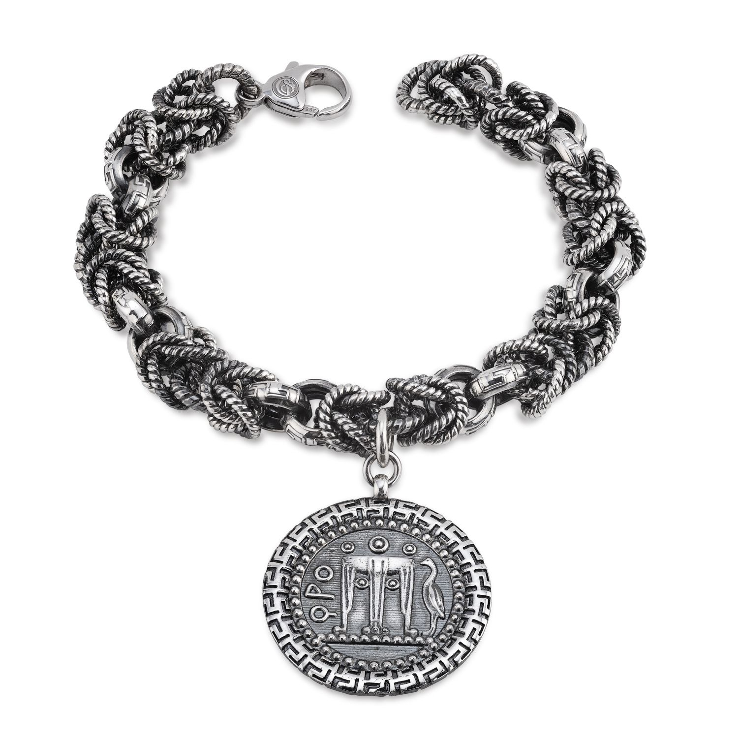Burnished Silver Bracelet with Coin (33689)