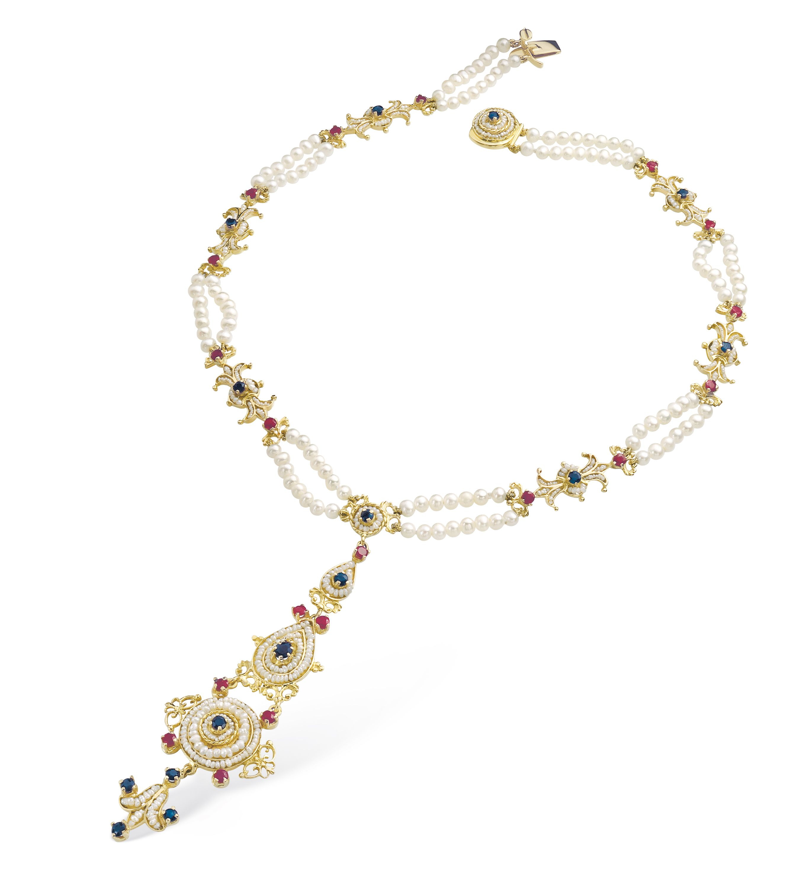 Gold Necklace with Pearls and precious Stones (13023)