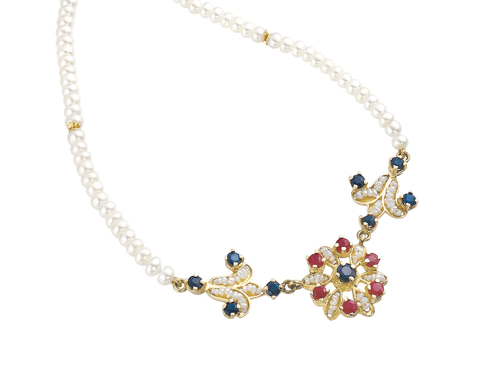 Gold Necklace with Pearls and precious Stones (13062)