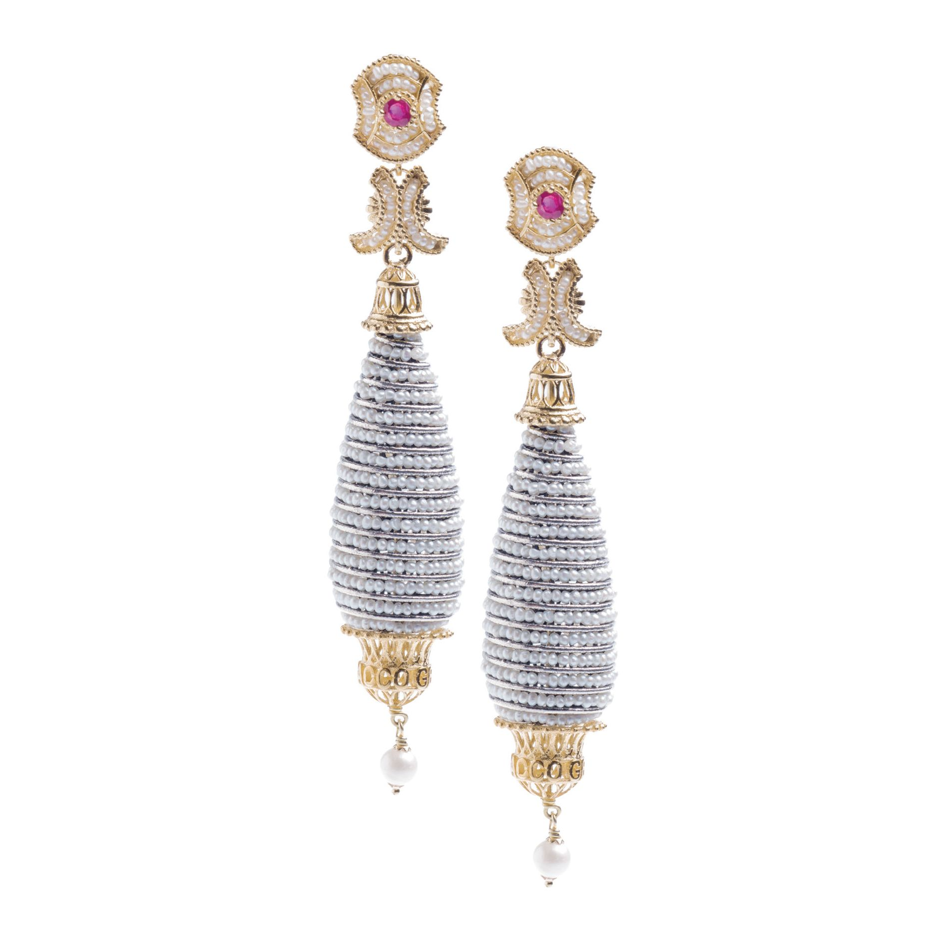 Pendant Earrings with Pearls and precious Stones (14242)