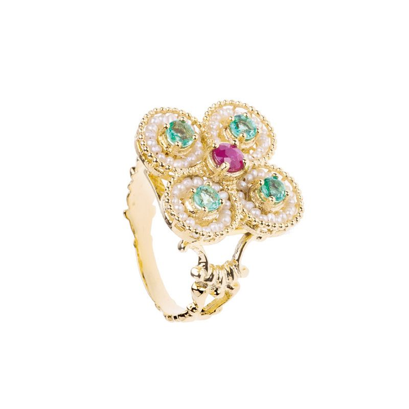 Gold Ring with Pearls and precious Stones (14244)