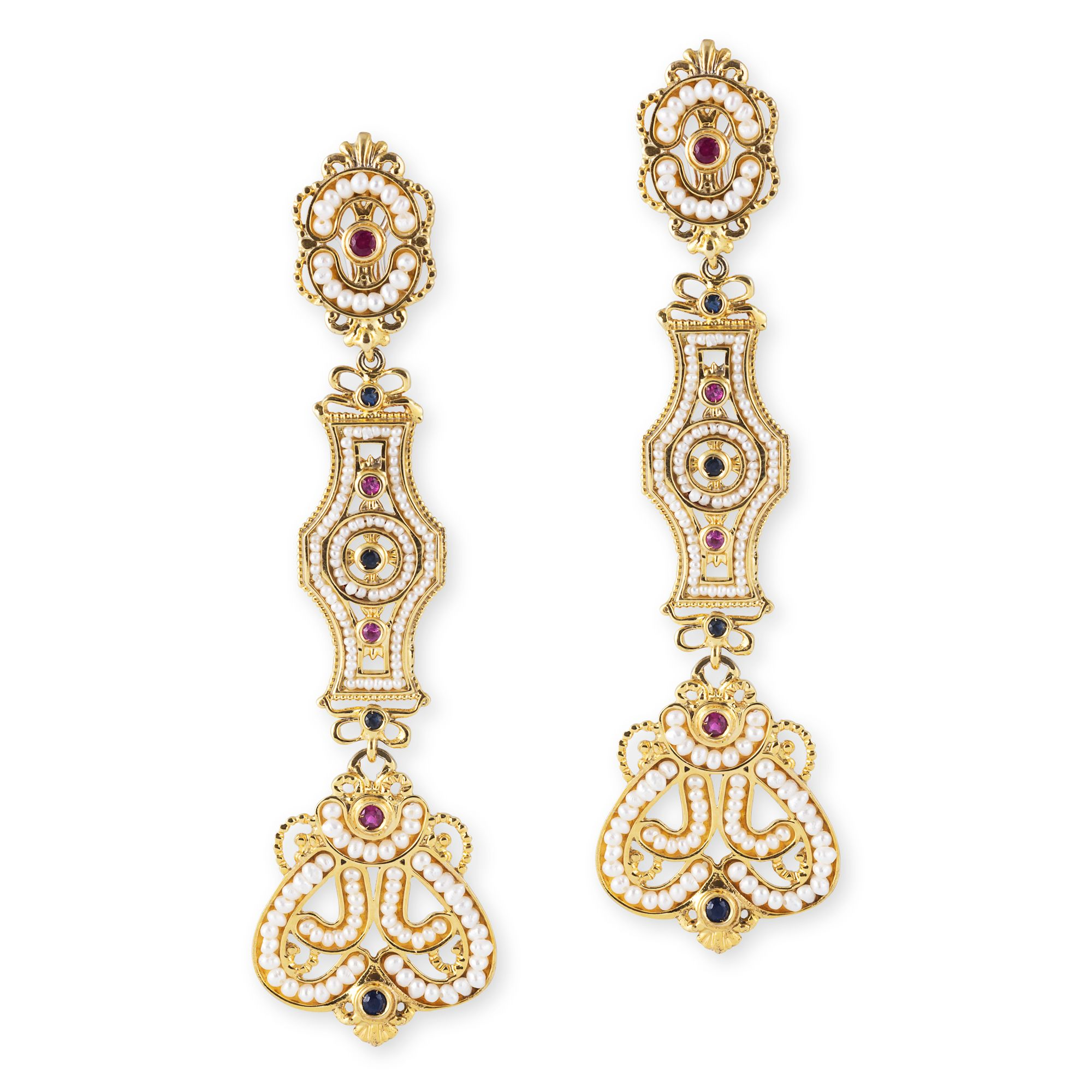 Gold pendant Earrings with Pearls and precious Stones (14268)