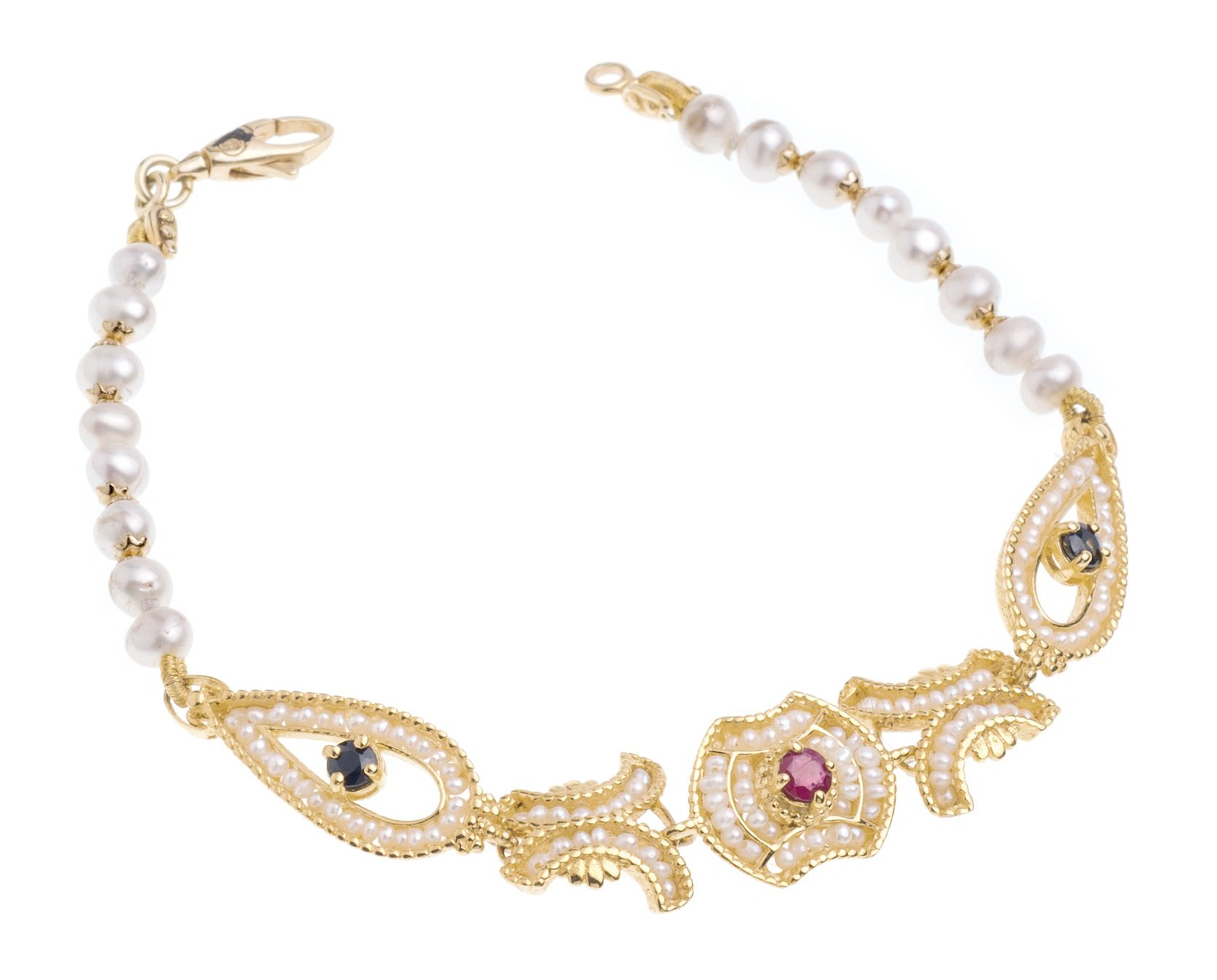 Gold Bracelet with Pearls and precious Stones (14238)