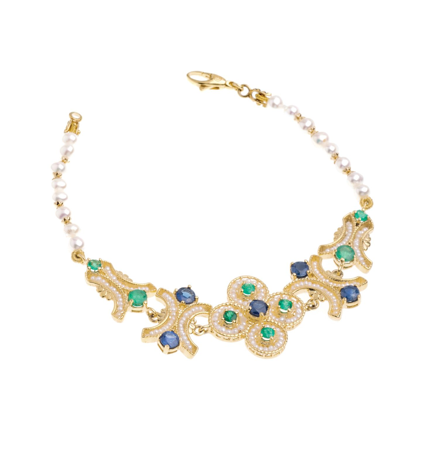 Gold Bracelet with Pearls and precious Stones (14239)