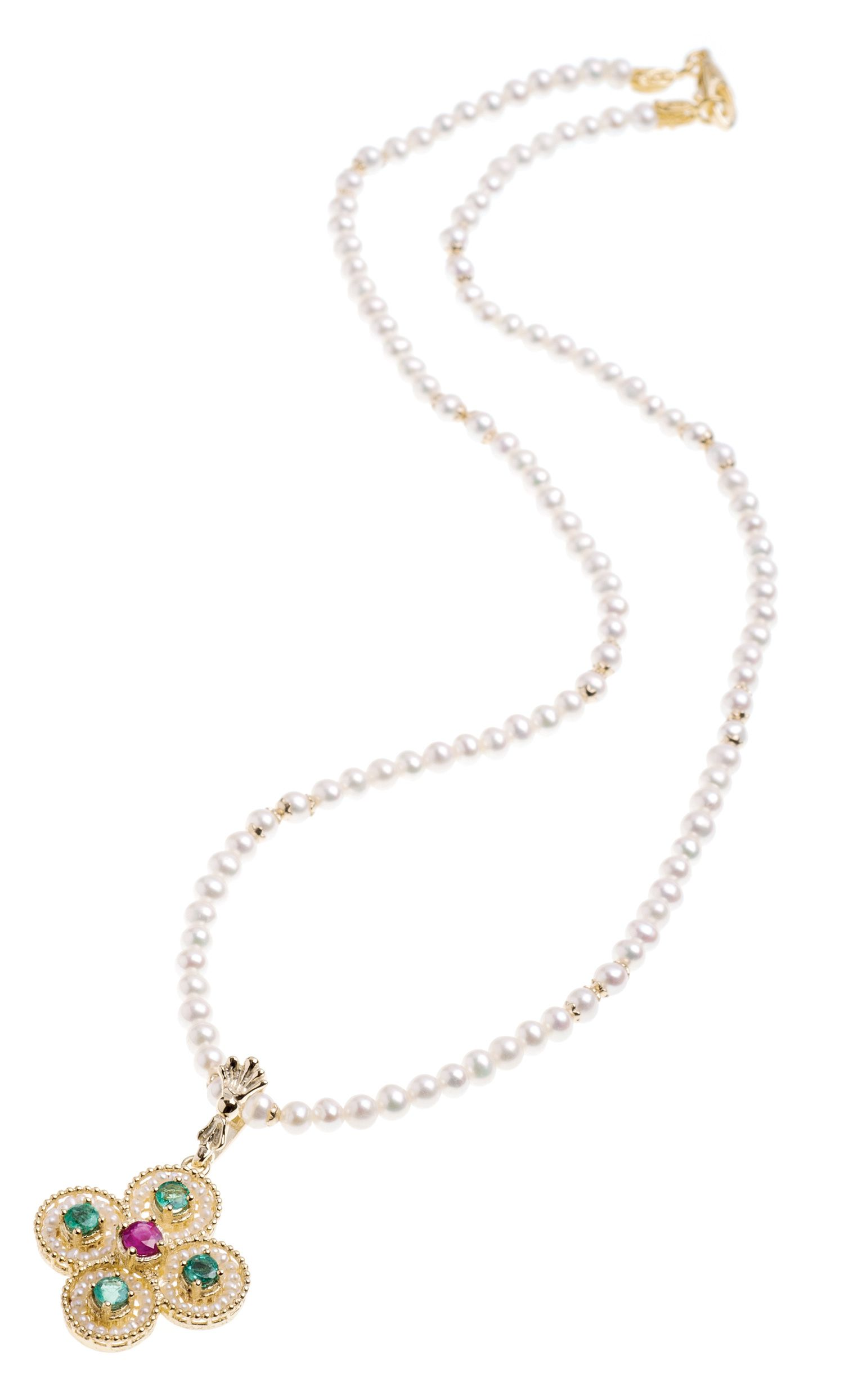 Pearl Necklace with Gold centre, Pearls and precious Stones (14246)