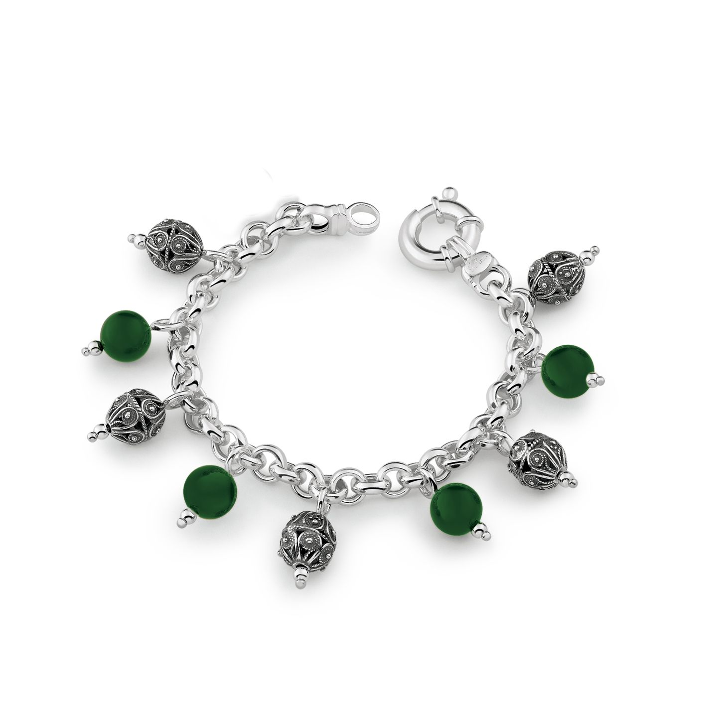 Silveer Bracelet with colored stones and sinacles (33133)