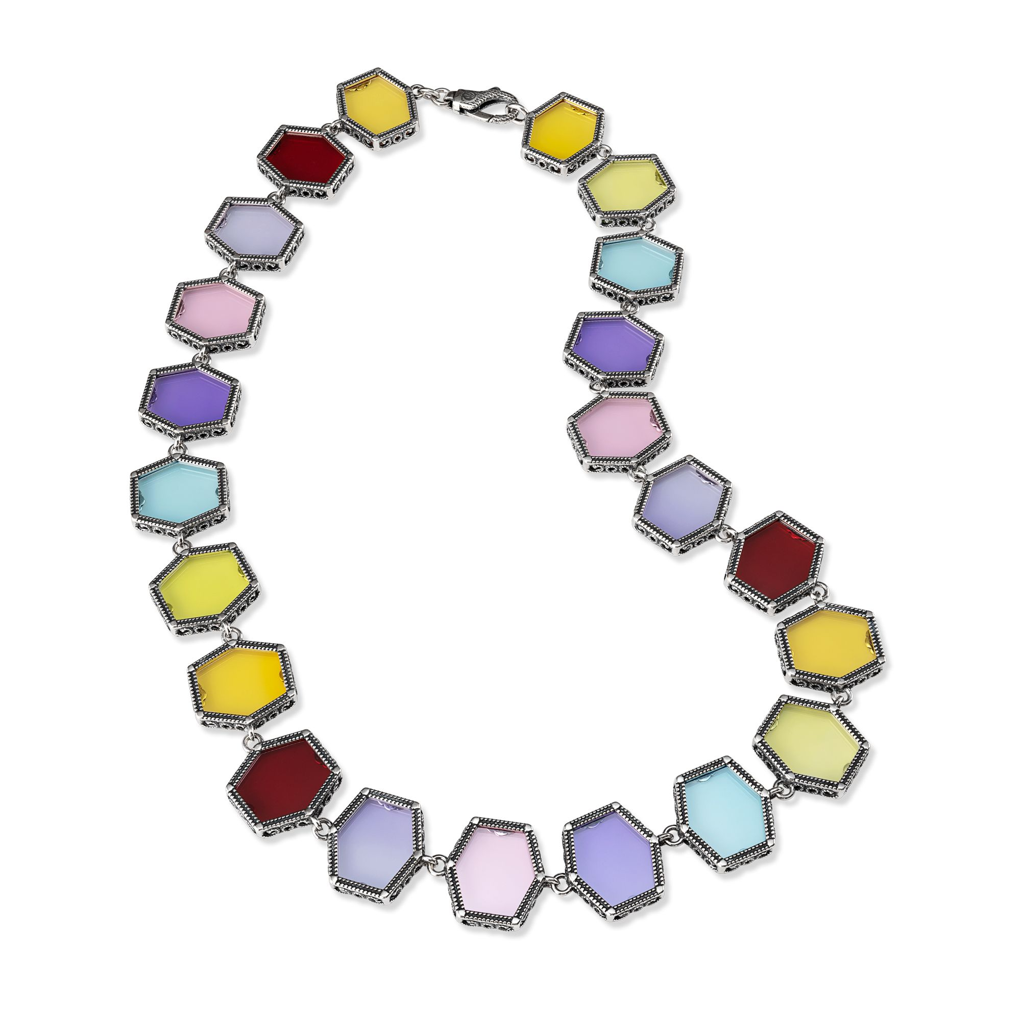 Silver Necklace with colored gemstones (28021)