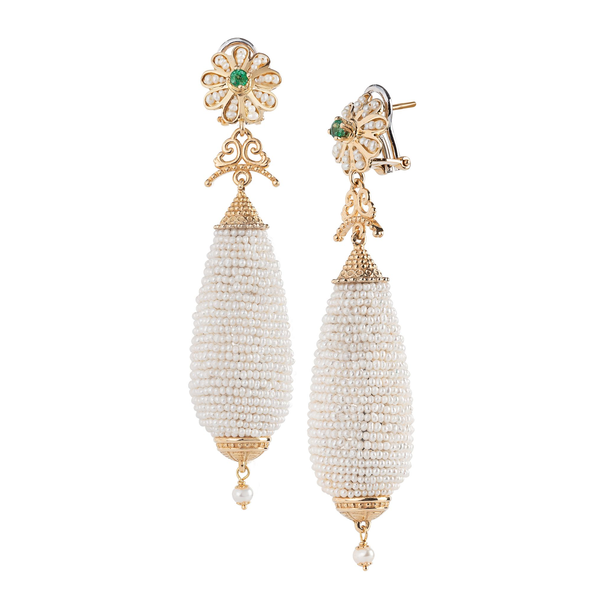 Gold pendant Earrings with Pearls and precious Stones (14206)
