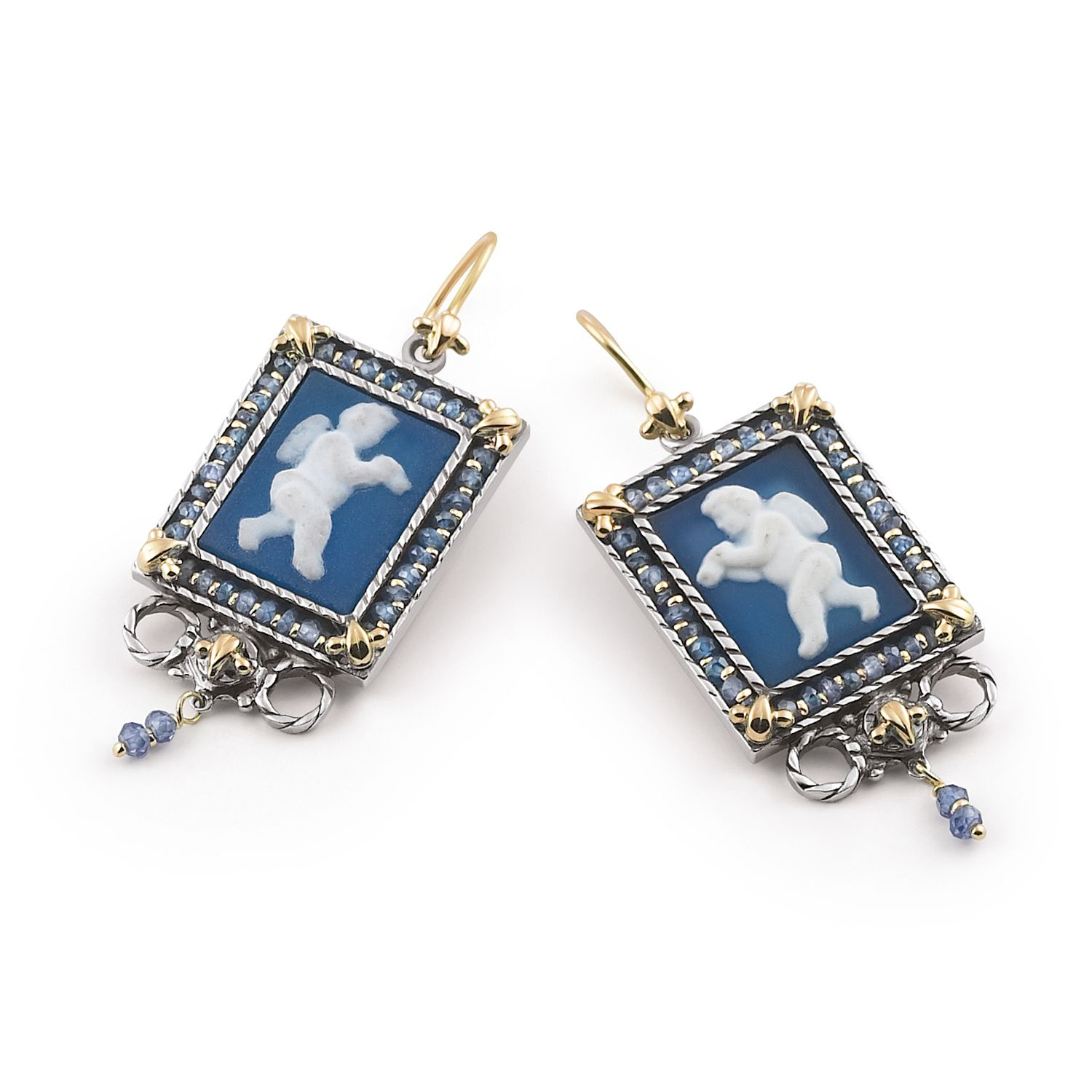Earrings with colored Cameos and Zircons (18371az)