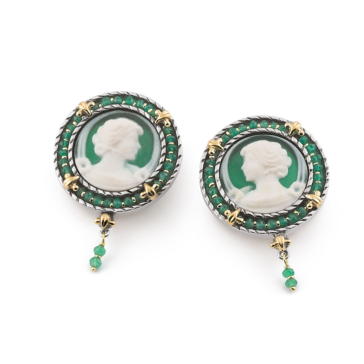 Earrings with colored round Cameos and Zircons (18376ve)
