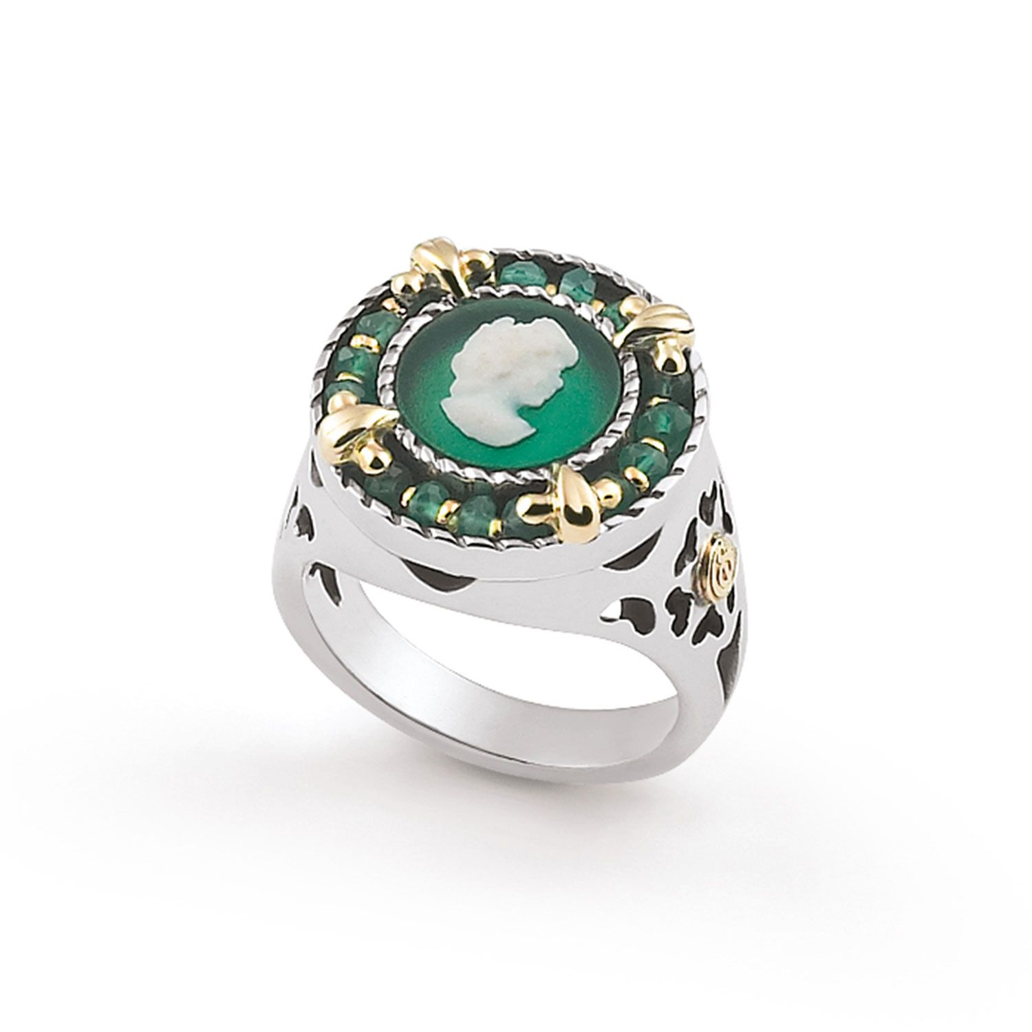 Ring with colored round Cameo (19237ve)
