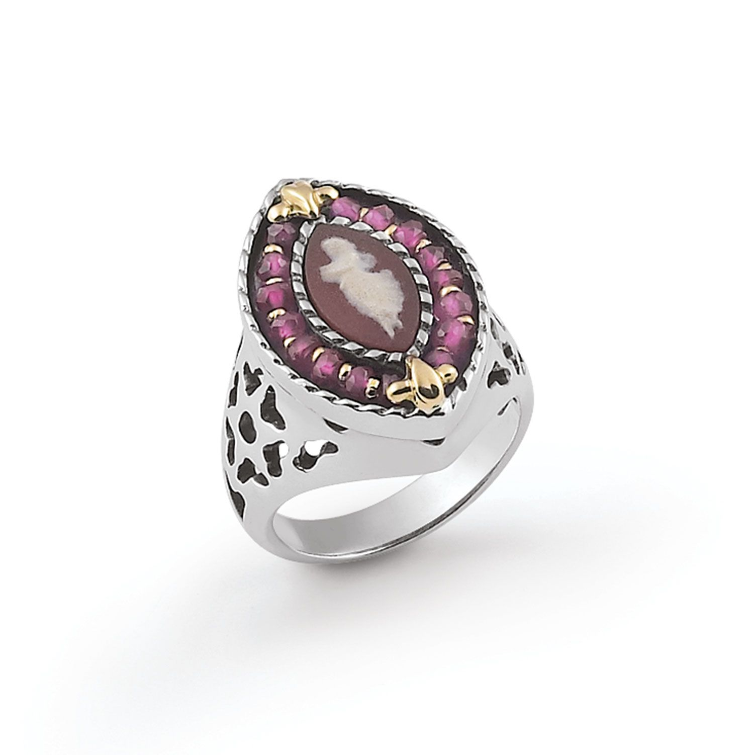 Ring with colored Cameo and Zircons (19243ro)